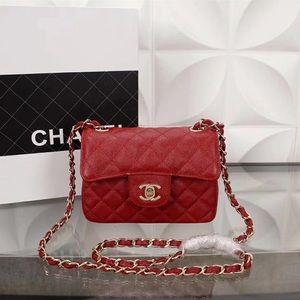 Chanel Mini Classic Flap Red Caviar Leather